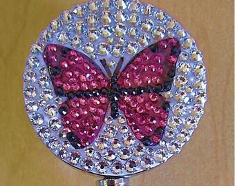 Pink butterfly ID badge reel