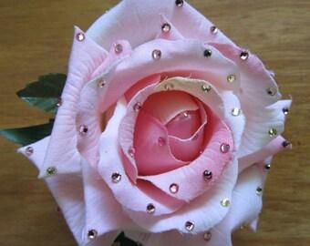 SALE- Pink blushing Rose silk hair flower