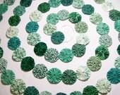 """9 Ft. Mixed Green Fabric Yo Yo Garland Prim Swag 1.5"""" Yo Yos"""