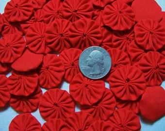 50 Solid Red Miniature 1 inch Yo Yos Applique Quilt Pieces Scrapbooking Embellishments