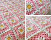 RESERVED Custom Order - Daisy Flower Pink Granny Square Patchwork Granny Square Afghan Blanket Gift