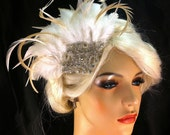Great Gatsby, Downton Abbey, 1920s Flapper Headpiece, Gatsby Headpiece, Feather Fascinator, Rhinestone Silver Beaded Art Deco