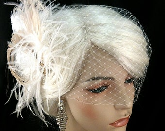 Great Gatsby Wedding, Bridal Feather Fascinator- Bridal Headpiece, Wedding Fascinator, Feather Fascinator, Gold-tone Rhinestone Center