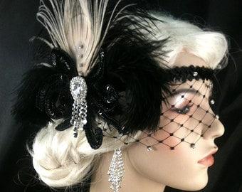 Flapper Headpiece, Great Gatsby Headband, Flapper Headband, 1920s Headband,1920s Headpiece, Art Deco Headband, Speakeasy Headpiece