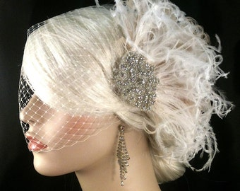 Hollywood Glitz  2-  Bridal Fascinator, Rhinestone Hair clip, Feather Fascinator, Bridal Veil, Wedding Veil, Hair Clip, Ivory Fascinator