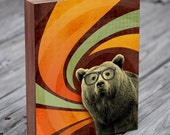 Bear Art - Bear with Glasses - The Book Smart Bear  -  Wood Block Art Print