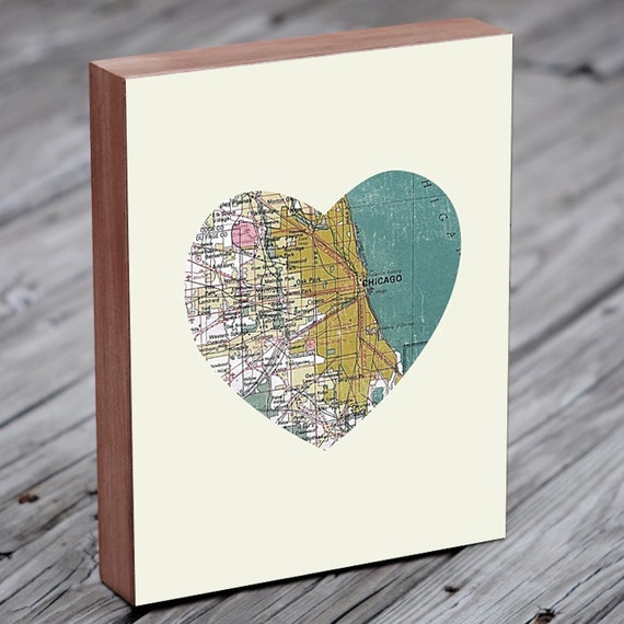 Chicago Art City Heart Map - Wood Block Art Print