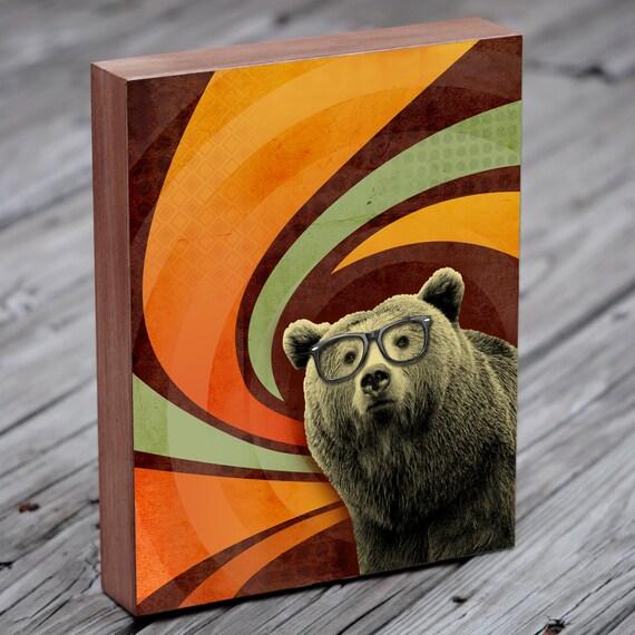 Bear Art - Bear with Glasses - The Book Smart Bear  -  Wood Block Art Print