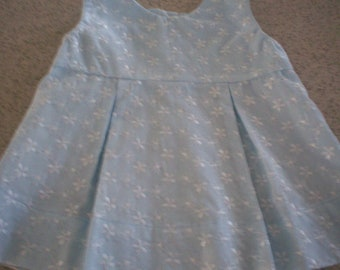 Blue Blossom Eyelet Embroidery Dress and Panty - Sz 3 Mos