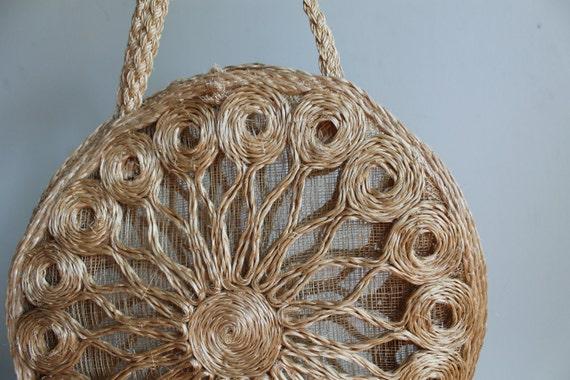 Woven Straw Handbag  /  Sunburst Floral Purse  /  Vintage 70s