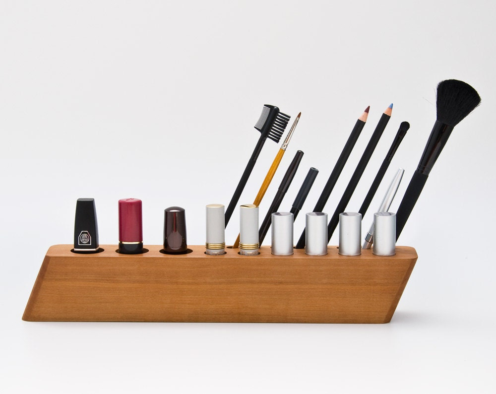 Pear Wood Cosmetic Makeup Organizer Brush Lipstick by lessandmore