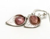 Pink Sapphire Earrings with Sterling Silver Leaf Charm Simple Nature Earrings Sapphire Earrings Cute Petite Adorable