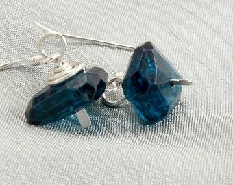 London Blue Topaz Earrings Sterling Silver Earrings Unique Handcrafted Earrings