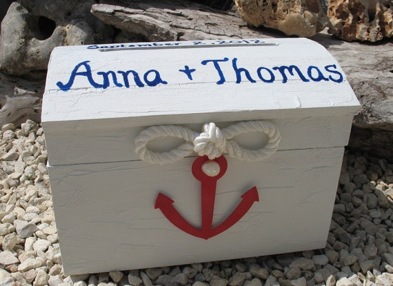 Personalized Red, White, & Blue Nautical Cape Cod Themed Beach Wedding Card Box- Treasure Chest Style Marine Rope Anchor Sailboat Ship Wheel