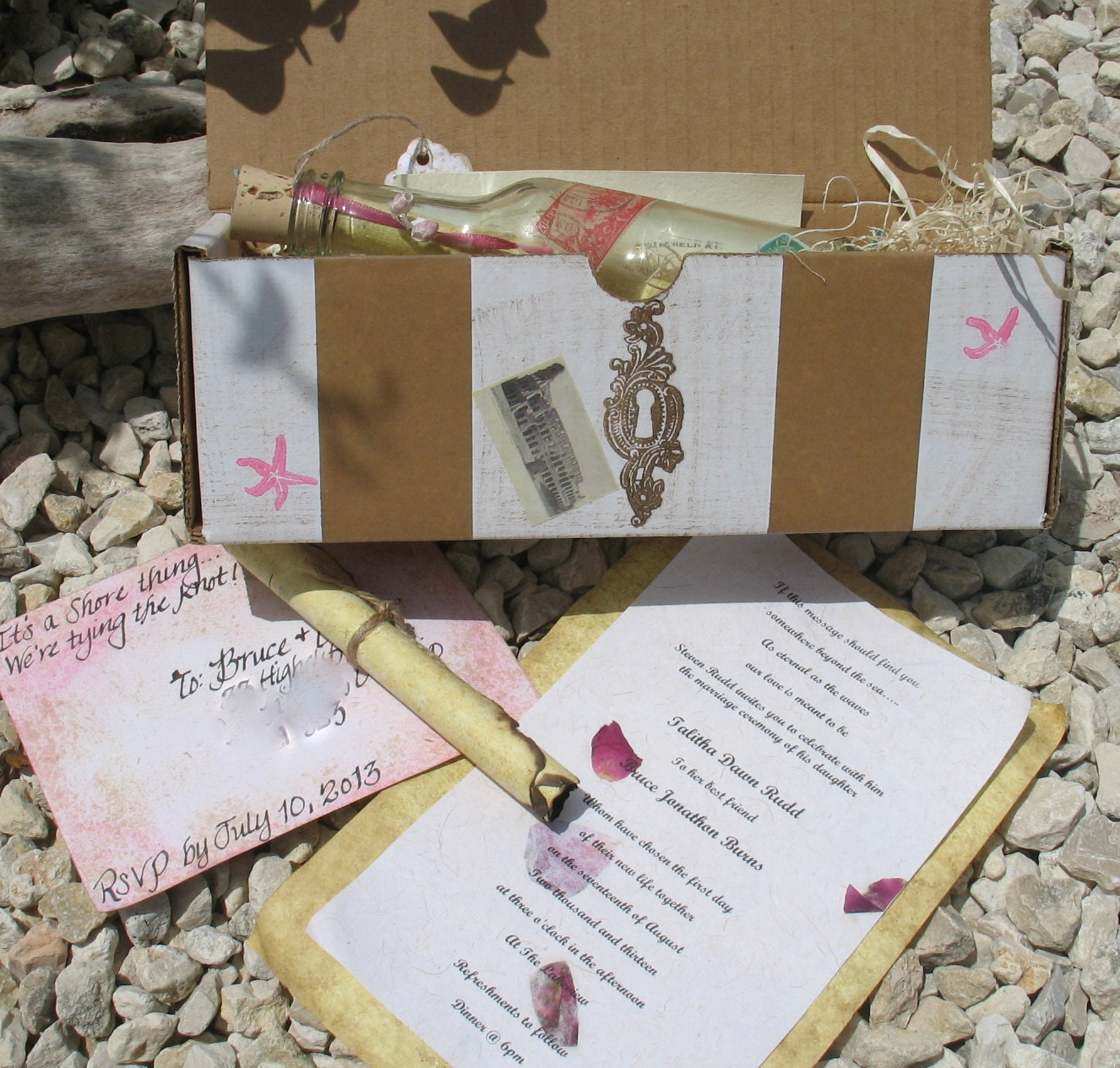 Message In A Bottle Wedding Invitations: Custom Message In A Bottle Beach Wedding Invitations Travels