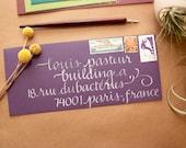 Wedding Calligraphy - Elegant Dark Purple Envelope Addressing