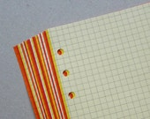 Squared Notepaper inserts - Fits Filofax or Organiser - yellow, orange and red - A5/personal/pocket/mini