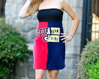 "One of a Kind Gameday ""Divided"" Dress made w/ UGA & Ga Tech tshirts - Medium - On Sale and Free Shipping"