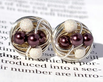 Burgundy / Star Dust - Mix It Up Series- Swarovski Glass Pearl and Stardust bead Wire Wrapped Stud Earrings