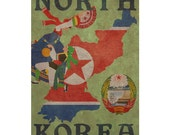 NORTH KOREA 1F- Handmade Passport / Documents Leather Neck Pouch - Travel Art