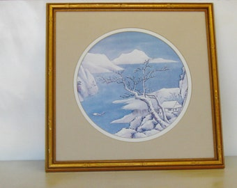 Vintage Chinoisere Blue and White Print, Faux Bamboo Frame, Hollywood Regency, Gallery Wall Decor