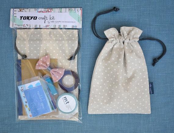 Tokyo Craft Kit - - DIY Craft Kit in a Bag - - Blue Harajuku - - washi tape, notebook, drawstring bag, stickers