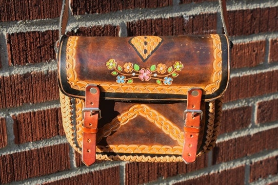vintage 70s BOHO MAYAN CALANDER 2012 brown tooled leather purse