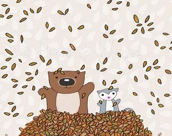 Childrens art Mini Print Autumn Surprise