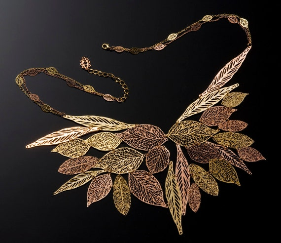 Fallen leaves metal lace Necklace plated with yellow and red 24 karat gold