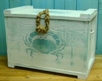 Crab Crate Side Table Trunk Chest Box Small by CastawaysHall