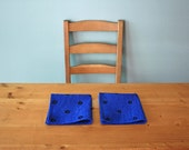 "Set of 2 Napkins, ""Etoile"" & ""Fruit Rings"", Hand-printed in Navy on Blue - Please Choose any Two"