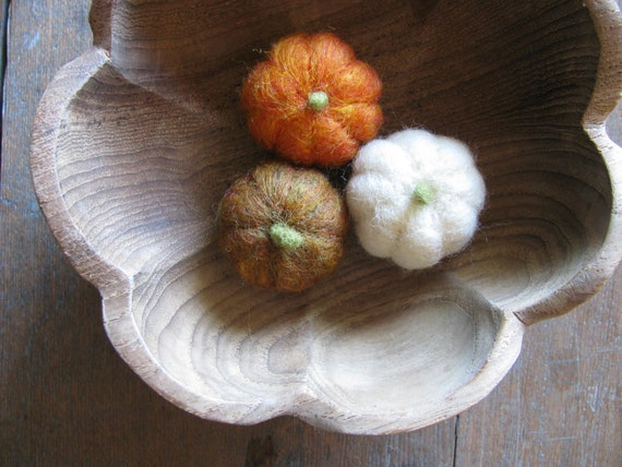 Felted Wool Pumpkins For Halloween And Harvest Set By