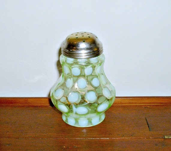 Green Coin Dot Opalescent Sugar Shaker Mufineer  Northwood Fenton Vintage