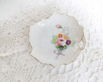 Antique Gold Floral Leaf Dish Hand Painted //