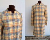 Vintage 60s Plaid Wool Coat Mod Yellow Orange Navy Lightweight Size M / L