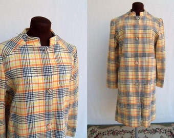 Vintage 60s Plaid Wool Coat Mod Yellow Orange Navy Lightweight Size M / L