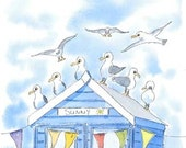 Sunny Blue beach hut and sea gulls.