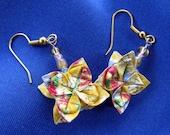 Yellow Origami Flower Earrings