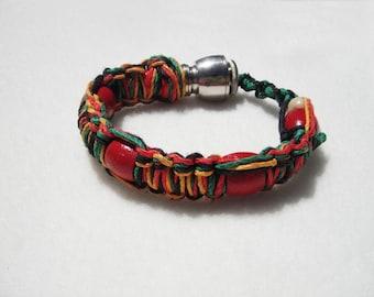 RASTA HOOKAH PIPE bracelet. Limited Edition hemp Shhmokewear- jewlery by Pallagi