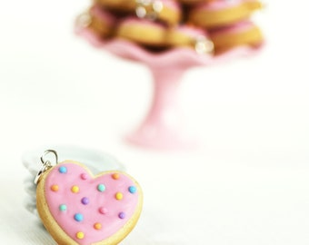 Heart Sugar Cookie Charm Polymer Clay Food