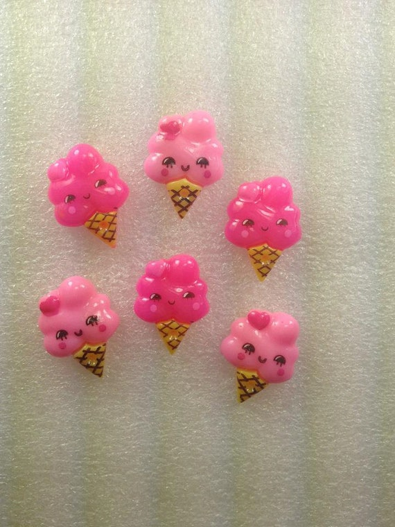 KaWaii iCe CReAm CoNeS PiNK and HoT PiNK ... Deco Resin Flatback Cabochons 6 pieces uSa ShiPPiNg...50% oFF WiTh CoUPoN