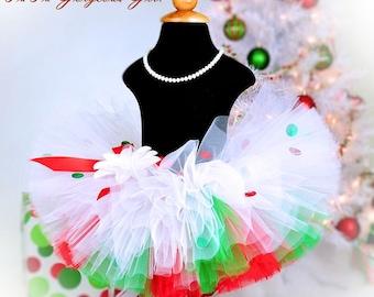 Christmas Tutu...Red, Green, White, Layered, Polka Dot Tutu...Photo Prop, Holiday Tutu, Dance...Baby, Toddler, Girls . . . CHRISTMAS CUTIE