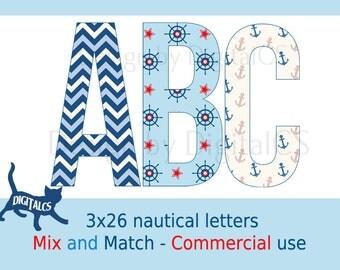 Digital alphabet letters Digital letters Clip art alphabet Clip art letters Commercial use Nautical red blue white clipart
