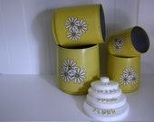 Vintage Yellow Daisy Kitchen Canisters