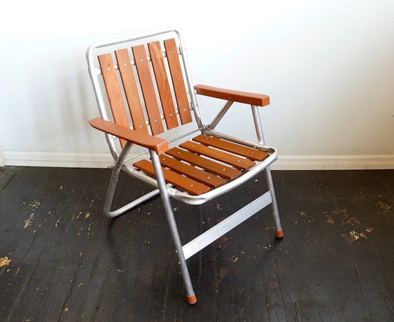 Vintage Aluminum and Teak Lawn Chair ... MCM, Mid Century, Patio, Deck Chair, Redwood