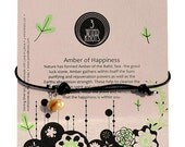 Handmade Bracelet or necklace of Happiness- Amber on sliding leather or chain