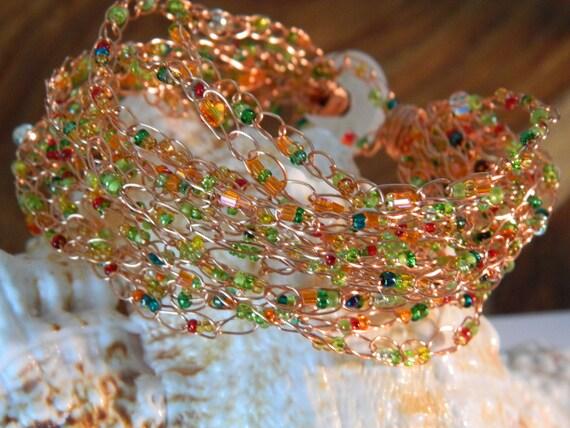 Copper Wire Crochet Cuff Cobweb Bracelet seedbeads and crystals