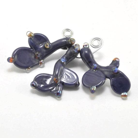 Purple Coral Drops : Loose Glass Lampwork (3)