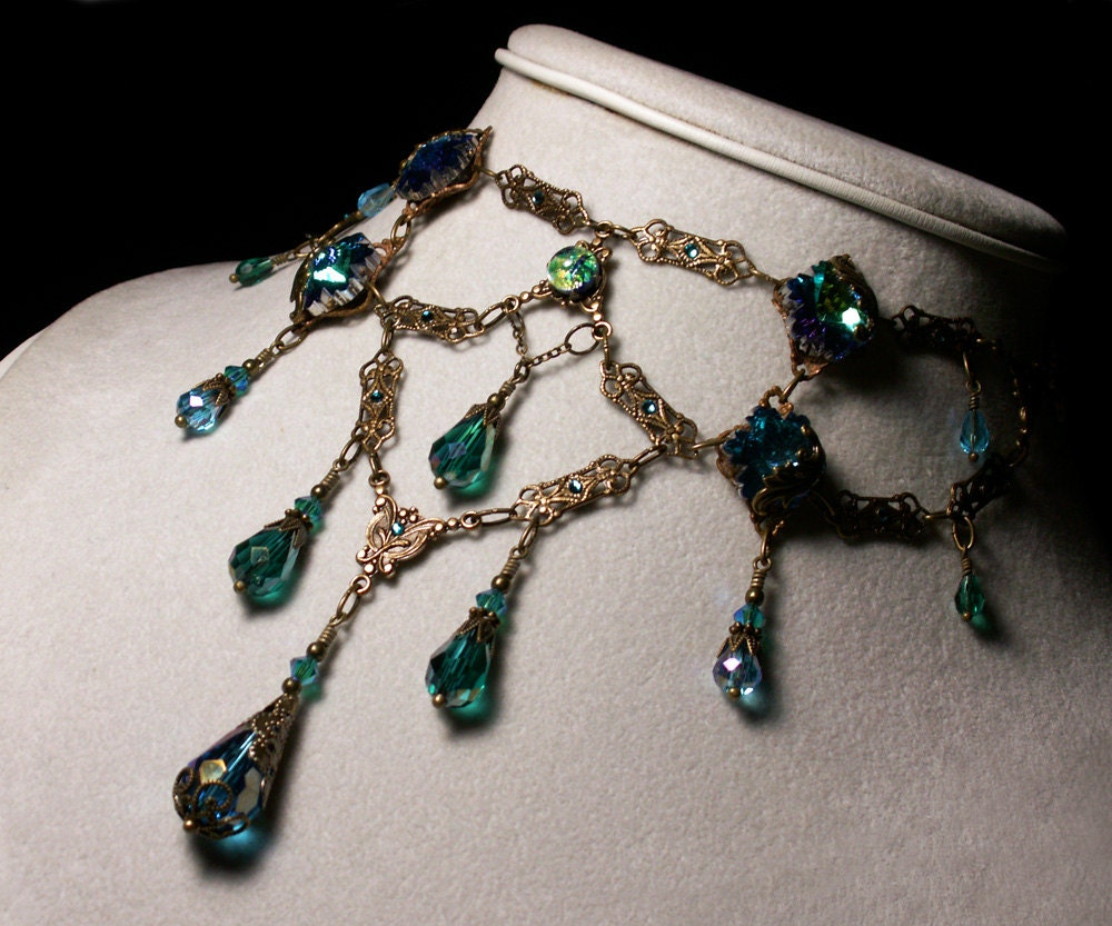 Peacock Blue Green Opal Crystal Choker Necklace Steampunk