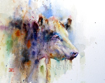 HEREFORD Cow Watercolor Print by Dean Crouser